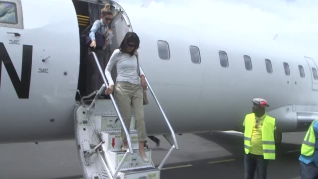 The US ambassador to the United Nations Nikki Haley heads for a displaced people's camp on a visit to the strife ravaged east of Democratic Republic...