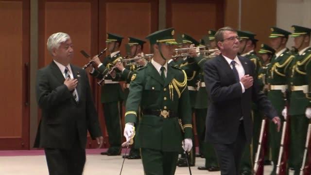 The US and Japanese defense ministers Ashton Carter and Genral Nakatani meet in Tokyo