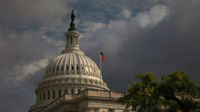 The US Capitol stands against cloudy sky in Washington DC US on Thursday Sept 14 2017 Photographer Andrew Harrer Shots wide shot of building with...