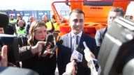 The vice president of the Chamber of Deputies Luigi Di Maio in L'Aquila on February 16 2017 for a delivery of a turbine to Italian Civil Protection
