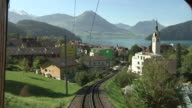 The Vitznau–Rigi Railway withe a view of Vitznau and Lake Lucerne