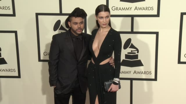 The Weeknd and Bella Hadid at 58th Annual GRAMMY Awards® Arrivals at Staples Center on February 15 2016 in Los Angeles California