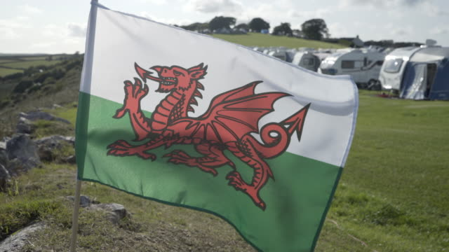 The Welsh dragon Flag blowing in the wind.