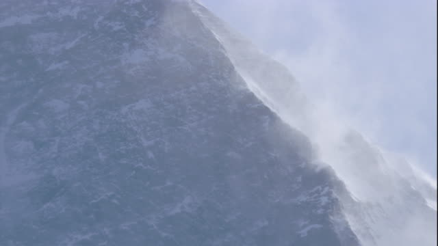 The wind blows snow on a mountain peak in the Himalayas. Available in HD.