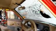 the windshield is broken