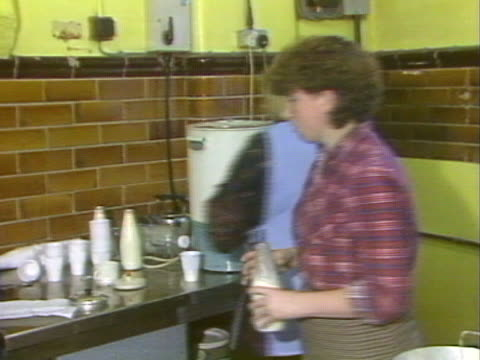 The wives of striking miners work in a soup kitchen in Ollerton