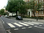 The zebra crossing on Abbey Road made famous on a Beatles album cover London 1990s