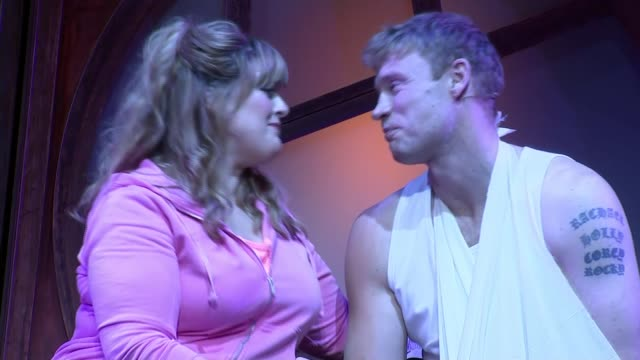 Freddie Flintoff makes stage debut in Fat Friends musical ENGLAND West Yorkshire Leeds Grand Theatre INT Various of Andrew Flintoff / Freddie...