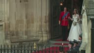 Their Royal Highnesses Prince William Duke of Cambridge and Catherine Duchess of Cambridge leave Westminster Abbey at the Royal Wedding Departures...