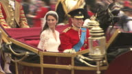 Their Royal Highnesses Prince William Duke of Cambridge and Catherine Duchess of Cambridge heading to Buckingham Palace at the Royal Wedding...