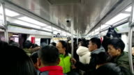 There are less people in Beijing subway on rush hour because lots of people go back to hometown before Chinese Lunar New Year