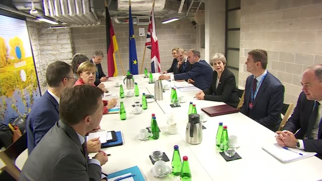 Theresa May and Angela Merkel at EU Summit ESTONIA Tallinn INT Theresa May MP and the British delegation sat across the table from Angela Merkel and...
