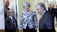 Theresa May and Secretary General of the UN Antonio Guterres greet each other in New York September 2017 NNBZ122H ABSA627D
