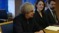 Theresa May at Govan Police Station SCOTLAND Glasgow Govan INT Theresa May MP in meeting with police officers and others