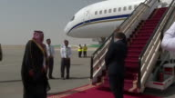 Theresa May being greeted in Riyadh on an official visit to Saudi Arabia