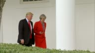 Theresa May criticises Donald Trump over refusal to condemn white supremacists LIB / TX 2712017 Washington White House EXT Donald Trump and Theresa...