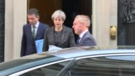 Theresa May Downing Street departure ENGLAND London Downing Street EXT Theresa May MP from Number 10 to car and away