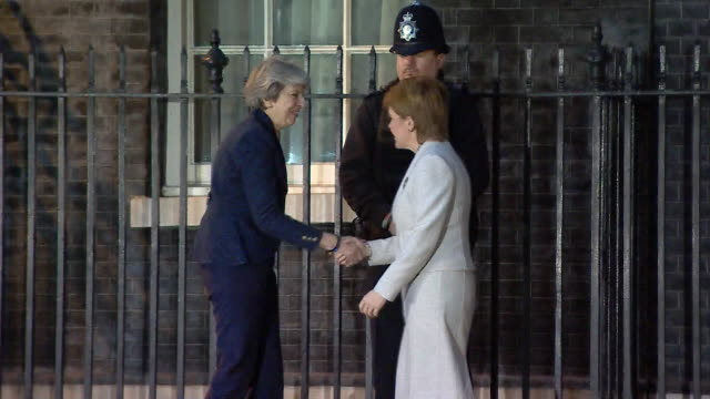 Theresa May greeting Nicola Sturgeon outside 10 Downing Street