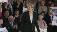 Theresa May greeting supporters in Bolton after the House of Commons approves her request for a snap general election