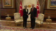 Theresa May greeting Turkish President Recep Tayyip Erdogan at the Presidential Palace in Ankara