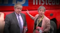Theresa May insists government is driven from the front over Brexit LIB / Cornwall Truro EXT Boris Johnson and Gisela Stuart MP with 'Vote Leave' bus