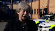 Theresa May interview at Govan Police Station SCOTLAND Glasgow Govan EXT Theresa May MP interview SOT