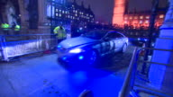 Theresa May leaving Westminster Palace in a convoy of vehicles after Parliament votes in favour of triggering Article 50