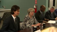 Theresa May meets business leaders during a stay in New York September 2017 NNBZ122H ABSA627D