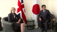 New York New York City PHOTOGRAPHY*** Theresa May MP at photocall with Shinzo Abe
