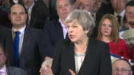 Theresa May saying the public has a choice between 'the strong leadership of the Conservatives' or 'a coalition of chaos led by Jeremy Corbyn'