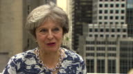 Theresa May speaking on a rooftop in New York responds to the suggestion that the prime ministerial job is tougher than expected saying she's...