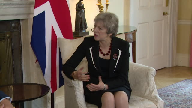 Theresa May speaking with Benjamin Netanyahu about the sensitivities of the IsraelPalestine tension on the 100year anniversary of the Balfour...