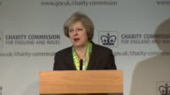 Theresa May talking about the importance of a 'shared society' and how the government will step up to help and enforce the society's responsibilities