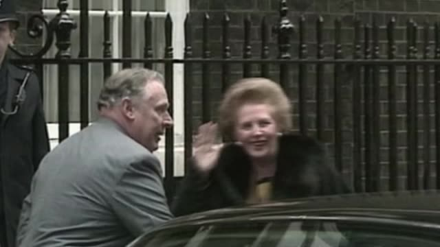 Theresa May vows to carry on amid rumours of leadership challenge November 1990 London Downing Street EXT Margaret Thatcher MP from car and into...