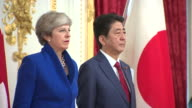 Theresa May with Japanese Prime Minister Shinzo Abe on an official visit to Japan