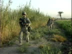 Third Infantry Division US soldiers patrolling rural area / Arab Jabour Iraq / AUDIO