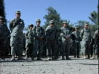 Third Infantry Division US soldiers standing in formation at Camp Victory / Baghdad Iraq / AUDIO