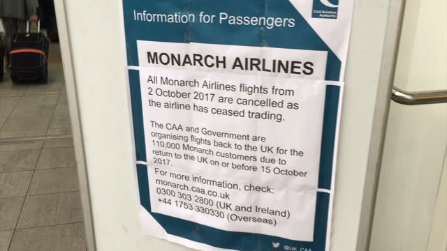 This clip contains a black gap third party content removed VOICED Hundreds of Monarch Airline passengers today turned up for their flights only to...