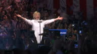 This clip contains music playing in the background that may require additional clearance CLEAN Interior shots of Hillary Clinton greeting crowds of...