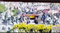 This video footaged by train station's security camera shows site of an explosion close to Ankara's main train station on October 10 2015 in Ankara...