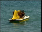 Thomas Cook job losses LIB People riding on pedalo Man laying on lilo