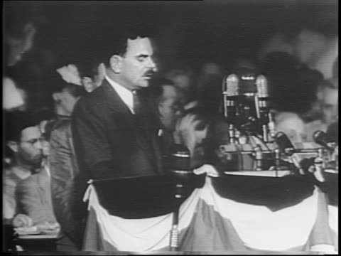 Thomas Dewey addresses the audience at the Republican National Convention accepting the nomination for President / Dewey discusses the tension and...