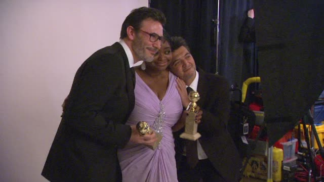 Thomas Langmann Michel Hazanavicius and Octavia Spencer at 69th Annual Golden Globe Awards Backstage Portrait Studio in Beverly Hills CA on 1/15/12