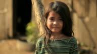 Thoughtful little girl in Cambodia