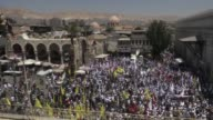 Thousand of Syrians marched in Damascus on Friday for the annual Quds Day demonstrations in support of Palestinians