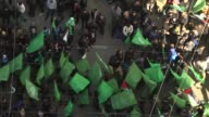 Thousands of Palestinians gather to celebrate the 29th anniversary of the foundation of Hamas in the Rimal district of Gaza on December 14 2016 Izz...