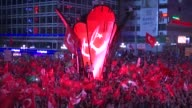 "Thousands of people gather at the July 15 Kizilay Democracy Square in Ankara on July 15 2017 as part of the nationwide ""Democracy and National Unity..."