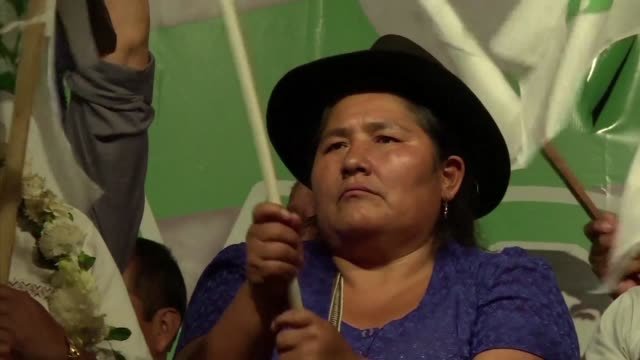 Thousands of people gather in Bolivia's main city Santa Cruz to support President Evo Morales campaign to be reelected despite a referendum blocking...