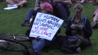 Thousands of people gather in the front of the state library in Melbourne on February 08 2016 to protest the imminent return of 276 asylum seekers to...