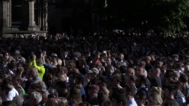 Thousands of people have gathered in the centre of Manchester in a show of defiance declaring they will not be 'beaten' or 'intimidated' in the wake...